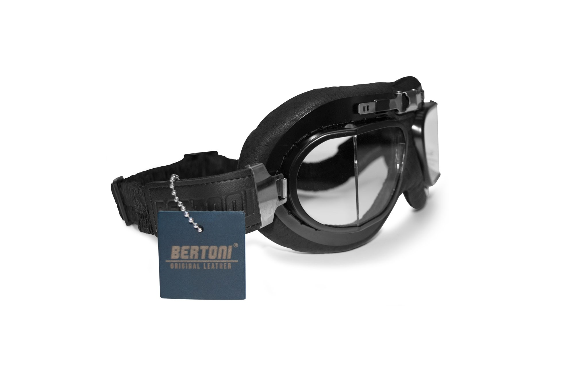 Motorcycle Goggles Real Black Calfskin Leather by Bertoni Italy - AF193L Vintage Aviator Bikers Goggles