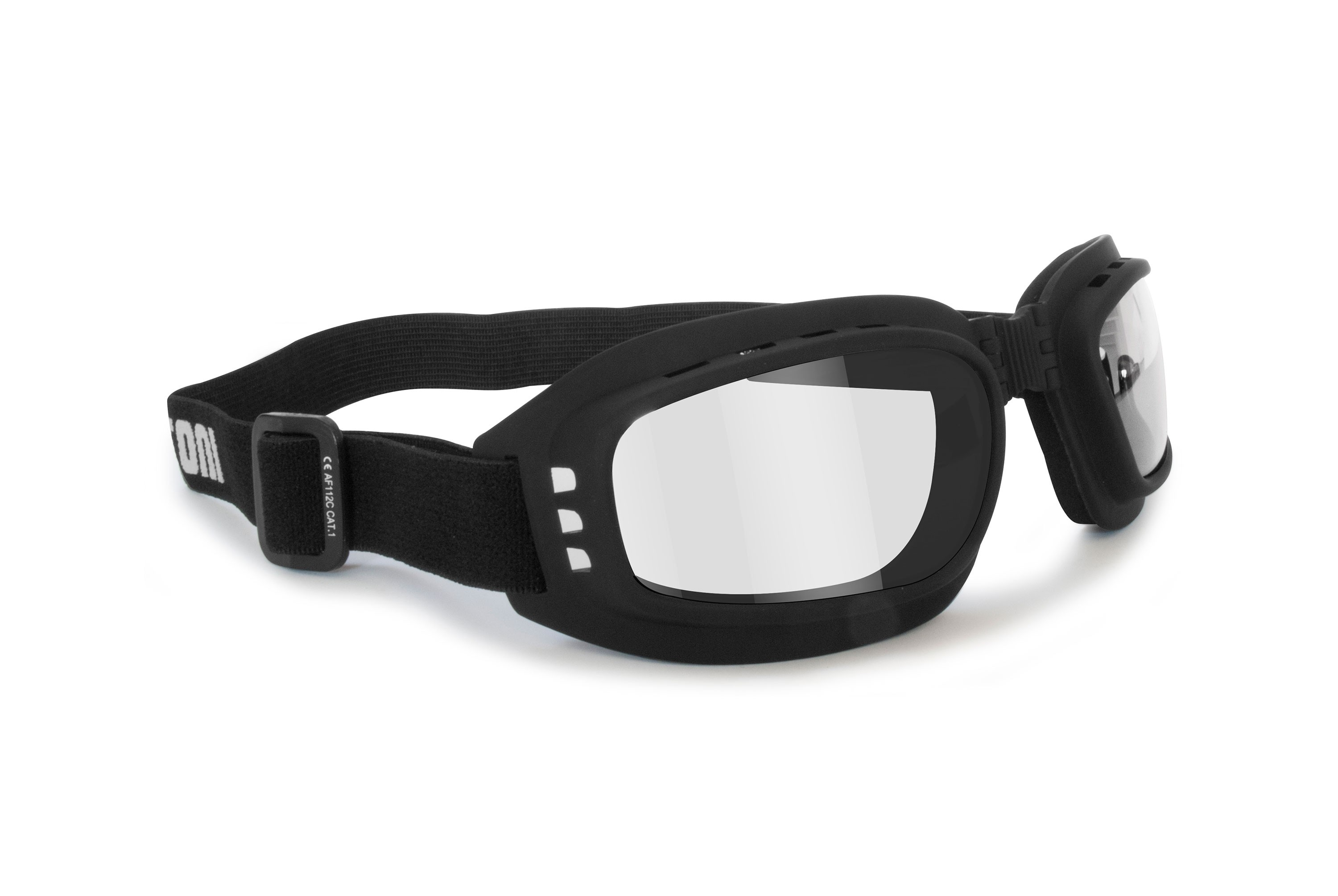 Motorcycle Goggles Riding Padded Glasses Photochromic Antifog - Adjustable Strap - Ventilated - Bertoni Italy F112A Motorbike Goggles