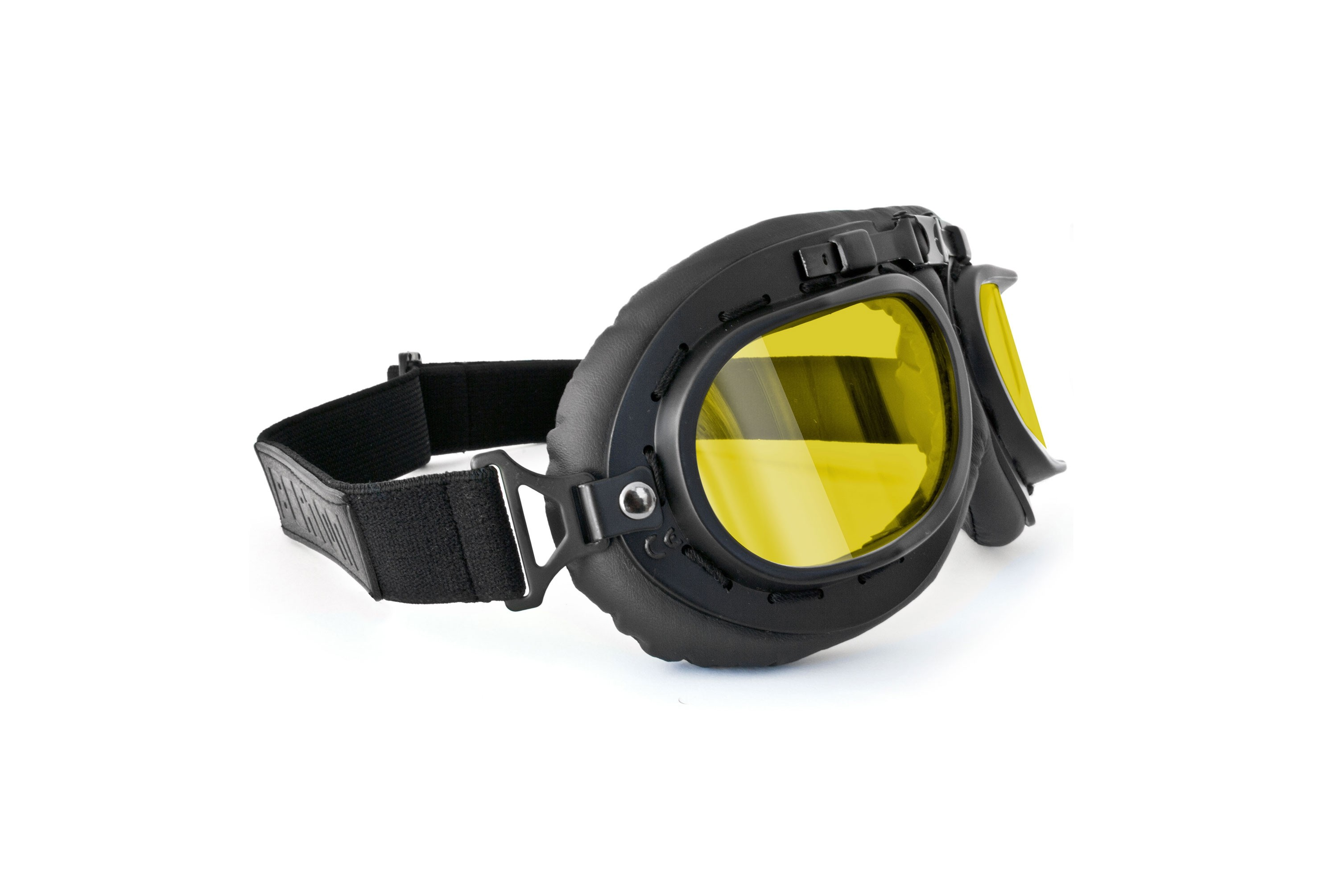 Vintage Motorcycle Goggles - Mat Black with Yellow Lenses - Anticrash Lenses by Bertoni Italy - AF195B