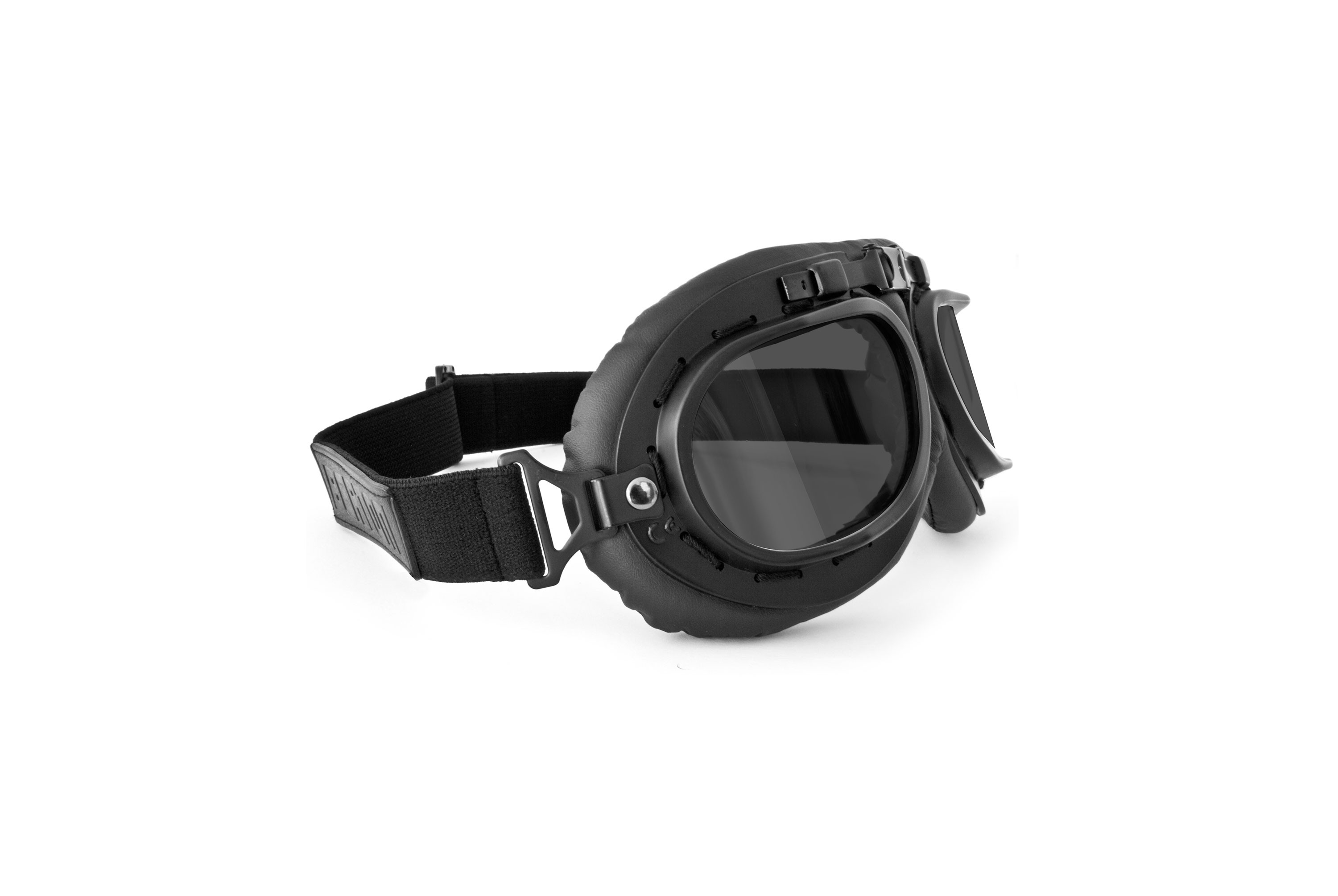Vintage Motorcycle Goggles - Mat Black with Smoke Lenses - Anticrash Lenses by Bertoni Italy - AF195C