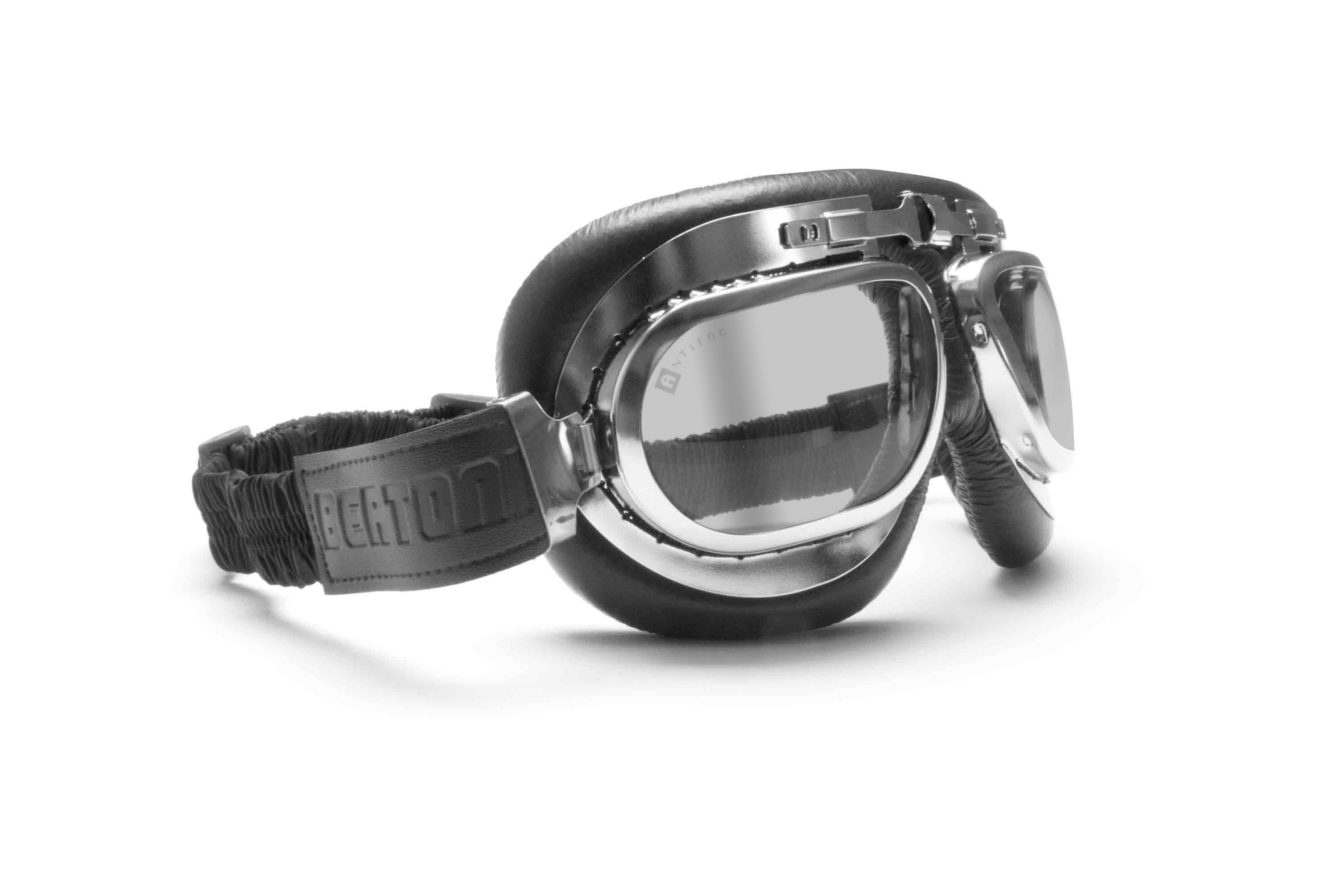 Motorcycle Goggles Vintage Style with Antifog and Anticrash Lenses - Light Smoked Clear Antifog Lens - Steel Frame - by Bertoni Italy - AF191CRS