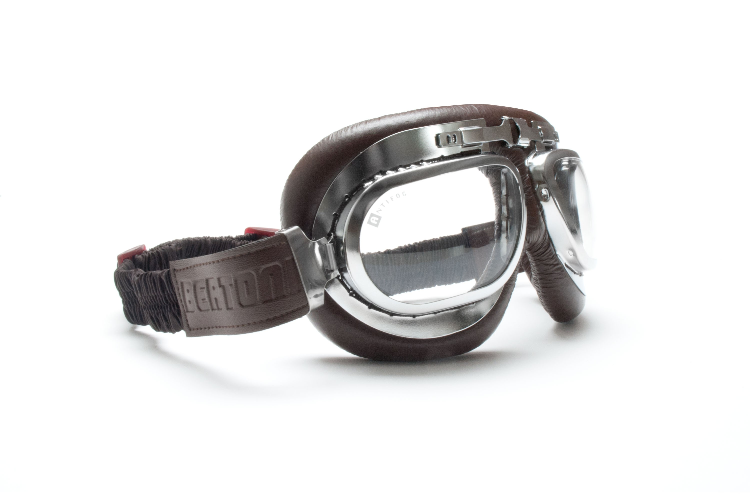 Vintage Motorcycle Goggles with Antifog and Anticrash Lenses - real chromed Steel metal rim - by Bertoni Italy - AF191CRB