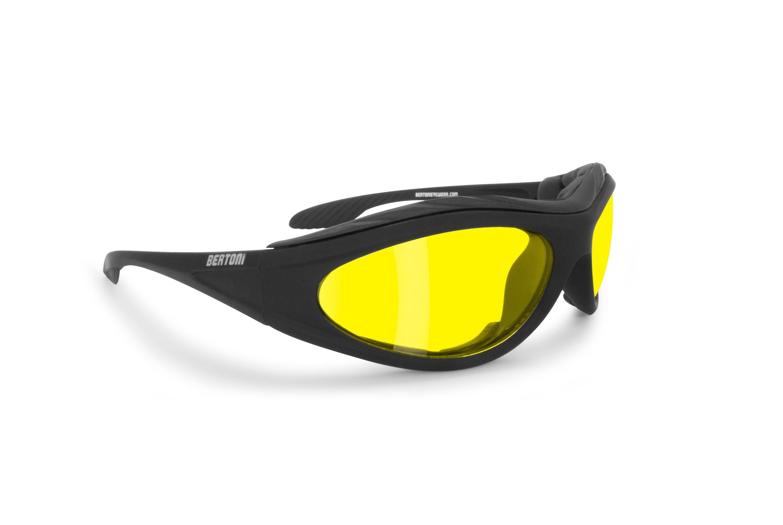 Bertoni Motorcycle Padded Glasses - Windproof Antifog Anticrash Lens - AF125A Mat Black - Yellow Lenses - Motorbyke Riding Sunglasses