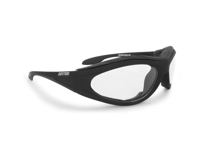 Bertoni Motorcycle Padded Glasses - Windproof Antifog Anticrash Lens - AF125B Mat Black - Clear Lenses - Motorbyke Riding Sunglasses