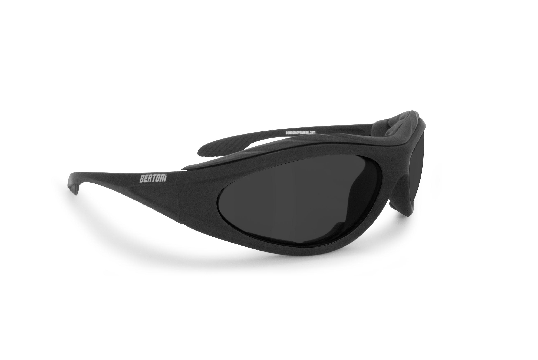 Bertoni Motorcycle Padded Glasses - Windproof Antifog Anticrash Lens - AF125C Mat Black - Smoke Lenses - Motorbyke Riding Sunglasses