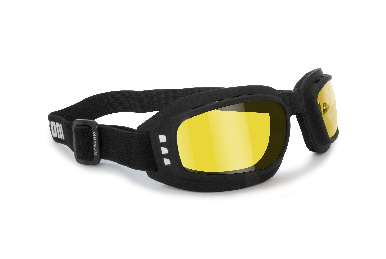 Moto Glasses with Anti-Fog Shock-Proof Lenses, Anti-Fog – Adjustable elastic – AF112 by Bertoni – Moto Mask For Helmet