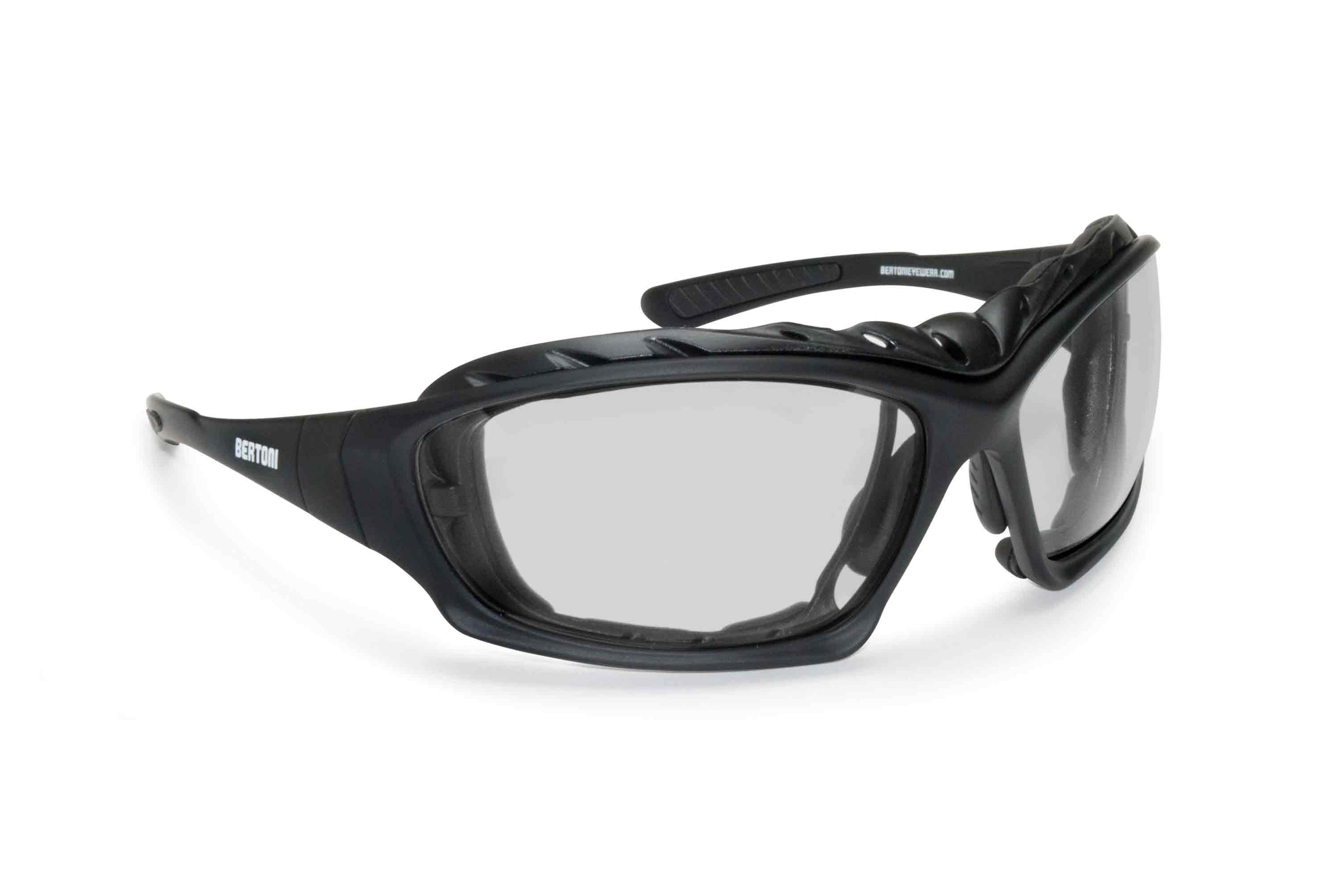 Motorcycle Goggles Sunglasses-  Antifog Lens - Interchangeable Arms and Strap - by Bertoni Italy - AF366A with Optical Insert