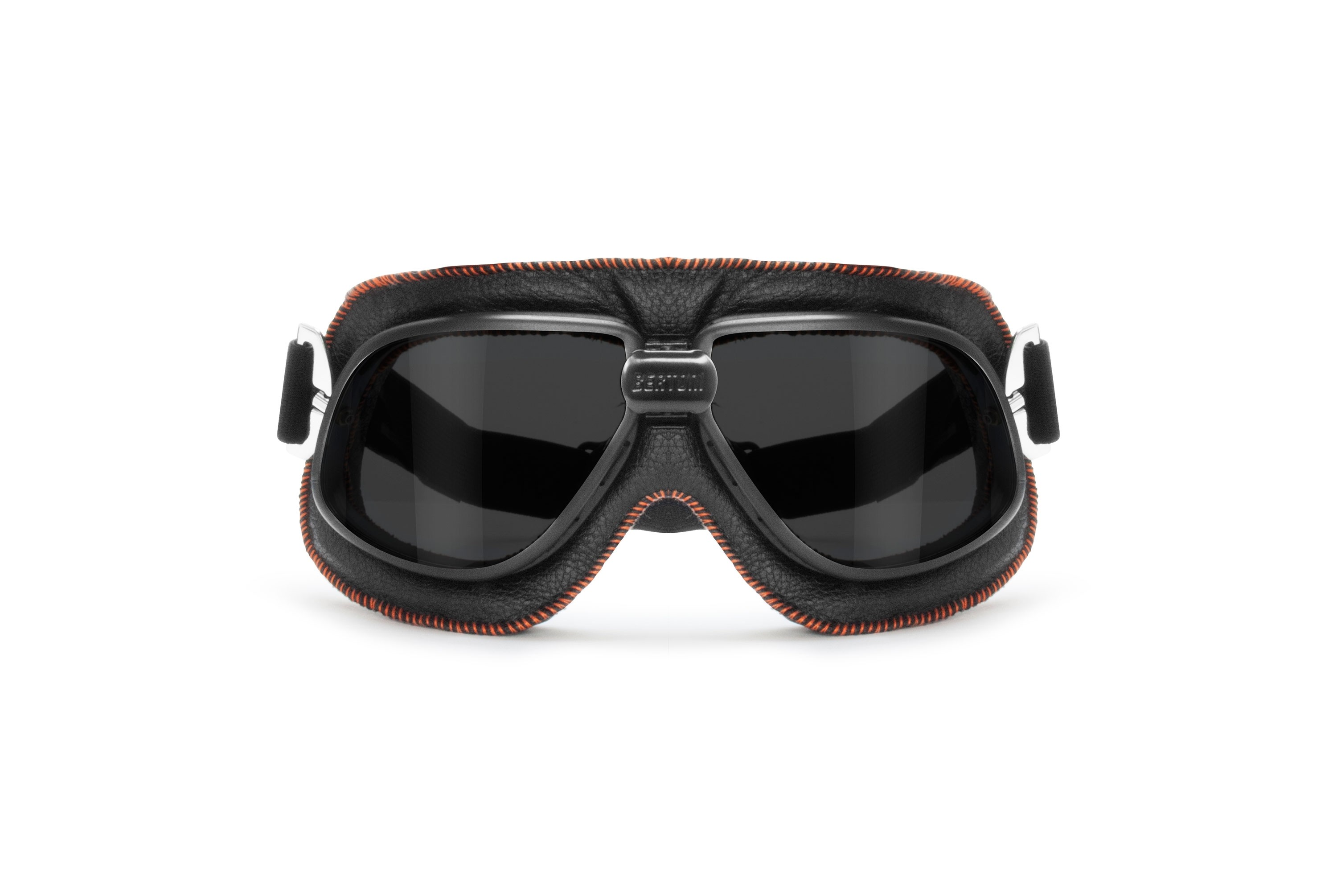 Vintage Motorcycle Goggles in Black Leather and Orange Stitching with Smoke Lenses By Bertoni Italy - AF196A
