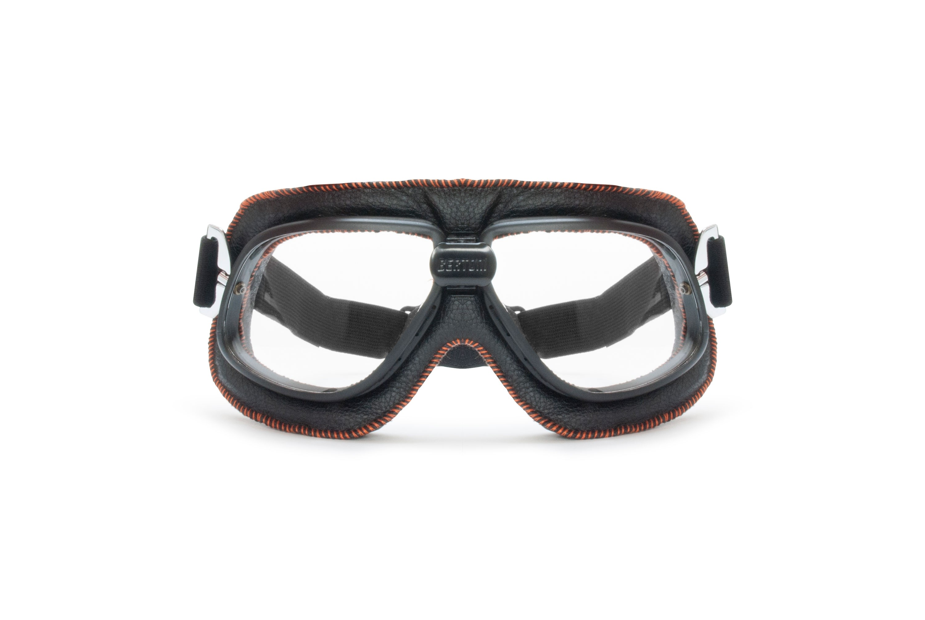 Vintage Motorcycle Goggles in Black Leather and Orange Stitching with Clear Lenses By Bertoni Italy - AF196B