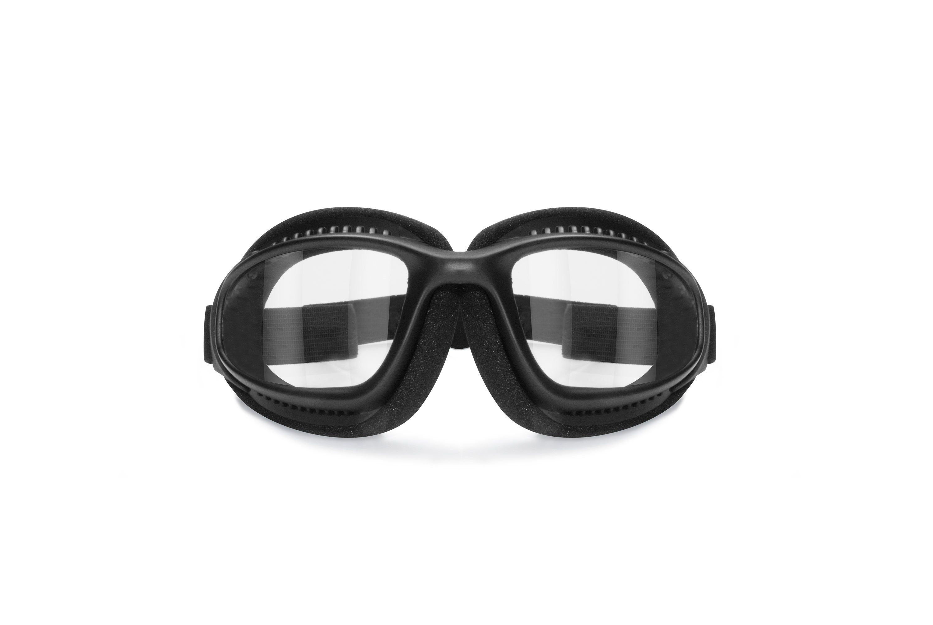 Bertoni Motorcycle Goggles for Helmets with Outriggers - Ventilated Antifog Lens - Adjustable Strap - Mat Black - AF113