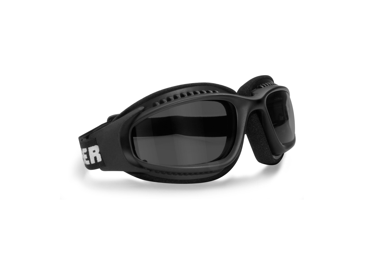 Bertoni Motorcycle Goggles for Helmets with Outriggers - Ventilated Antifog Lens - Adjustable Strap - Mat Black - AF113