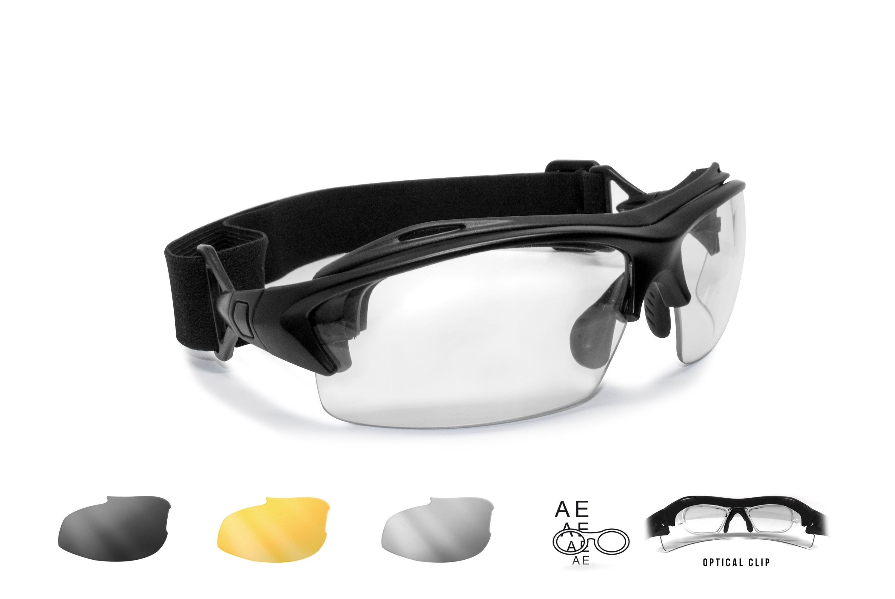 Motorcycle Prescription Glasses and Goggles – 3 Interchangeable Antifog Lenses - Removable Clip for Pescription Lenses - Interchangeable Arms and Strap – AF399 by Bertoni Italy