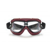 Vintage Motorcycle Goggles in  RED Leather and Black Stitching with Clear Lenses By Bertoni Italy