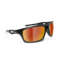 Motorcycle Sunglasses – mod. Omega AF Lens color:  smoke cat. 3 with Gold Mirror coating. by Bertoni Italy