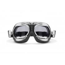 Vintage Motorcycle Aviator Goggles - Antifog Anticrash Light Smoked Squared Lenses - Chromed Steel Frame - AF193CRS  by Bertoni Italy - Motorbike Aviator Helmets Goggles