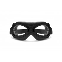 Motorcycle Vintage Aviator Goggles Matt Black - Compact Size Suitable for all Faces and Ladies by Bertoni Italy AF77