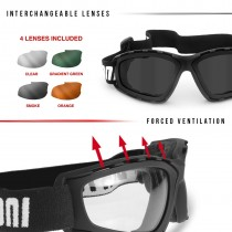 Motorcycle Goggles with 4 Interchangeable Lenses included by Bertoni Italy - AF120B Motorcycle Padded Glasses