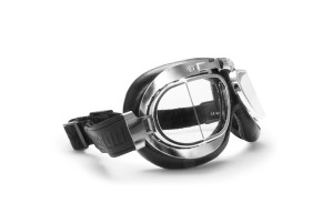Vintage Motorcycle Goggles with Antifog and Anticrash Squared Lenses - Chrome Steel rim- by Bertoni Italy - AF193CR Black