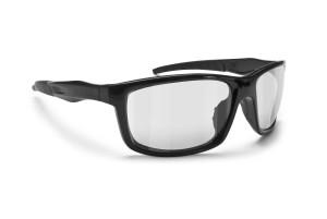 Shiny Black Motorcycle Photochromic Sunglasses for Harley Chopper Cafè Race Naked by Bertoni Italy - ALIEN F02 Photochromatic