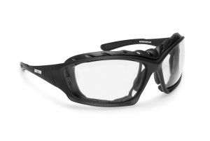 Motorcycle Goggles Sunglasses- Photochromic Antifog Lens - Interchangeable Arms and Strap - by Bertoni Italy - F366A - Removable Optical Clip for Prescription lenses included
