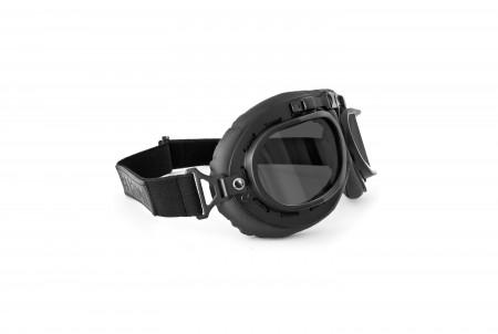 Black Motorcycle Vintage Goggles with Smoke Lenses AF195C