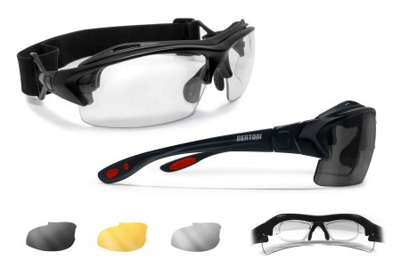 Motorcycle Sunglasses for Prescription Lenses AF399D Shiny Black